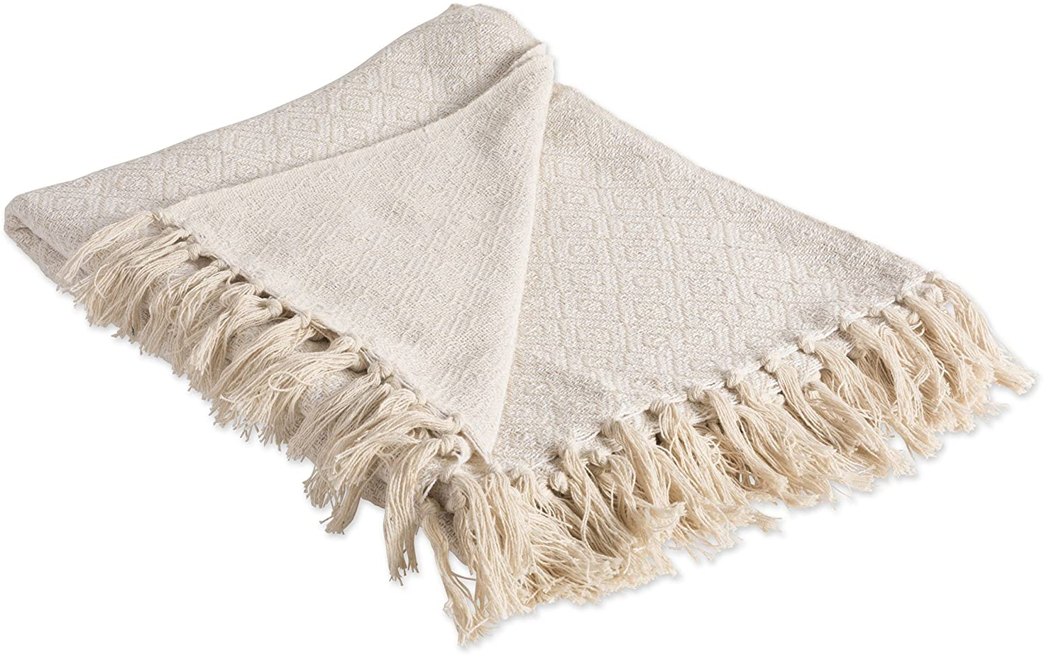 """DII Rustic Farmhouse Cotton Diamond Blanket Throw with Fringe For Chair, Couch, Picnic, Camping, Beach, & Everyday Use , 50 x 60"""" - Fields of Diamond Natural"""