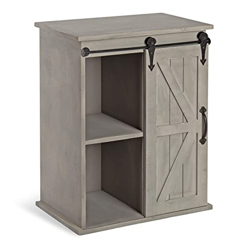 Kate and Laurel 215276 Cates Wood End Table with Sliding Barn Door, 14x22x27, Gray