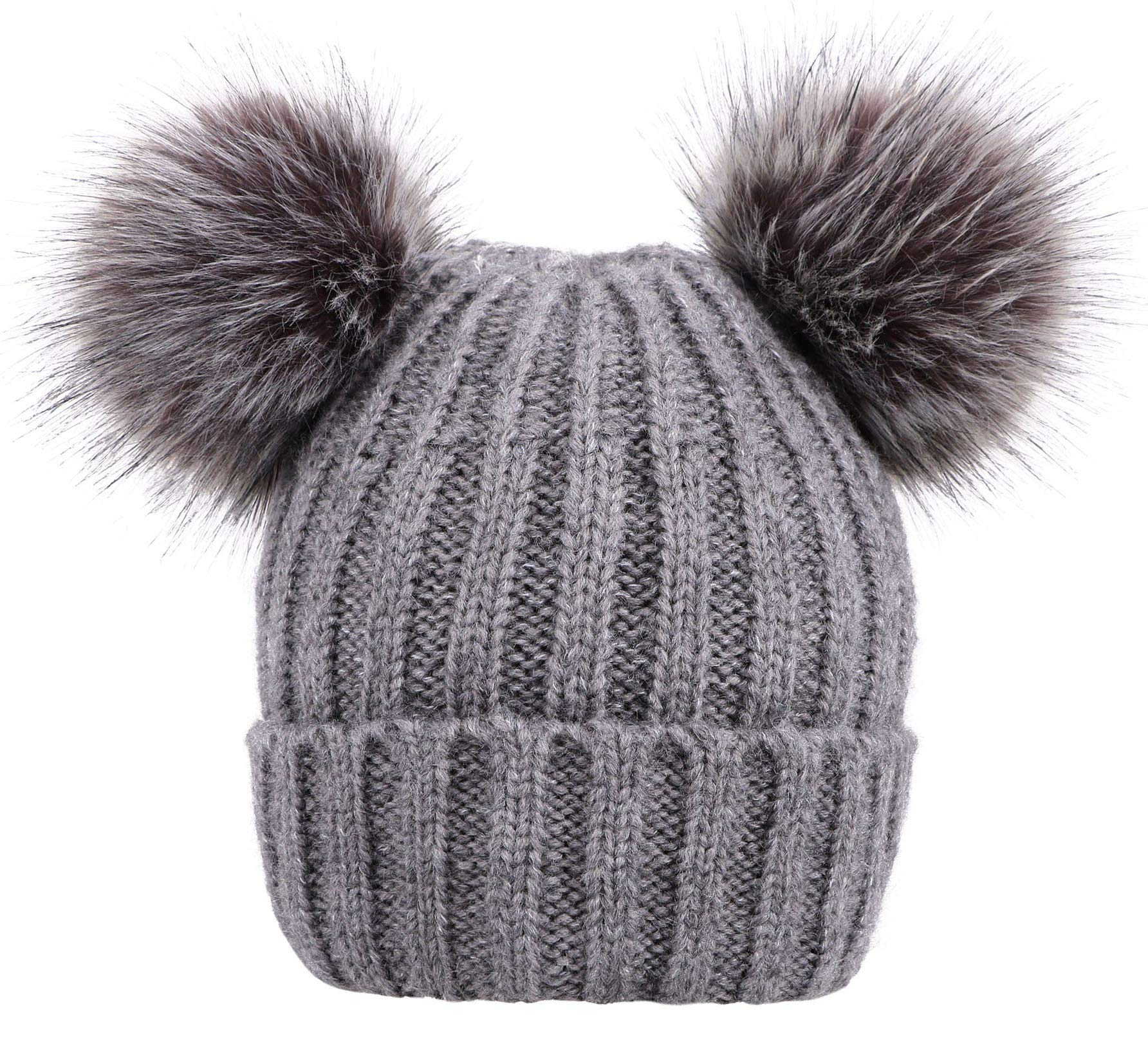 455de04d0bd Jasmine Pompom Beanie Womens Cable Knit Fleece Lined Beanie Hat with Faux  Fur Pom Ears