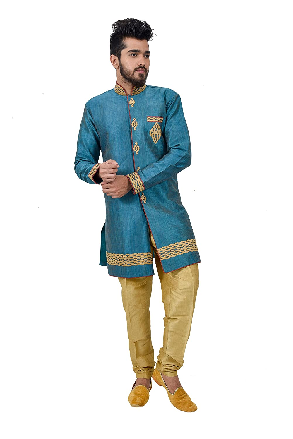 Amazon.com: Turquoise Blue Ghiccha Silk Traditional Indian Wedding ...