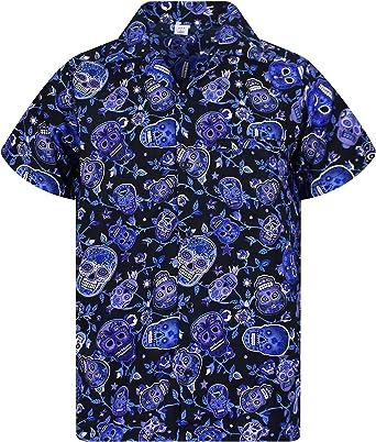 V.H.O. Funky Camisa Hawaiana, Skull, Blue, 11XL: Amazon.es: Ropa