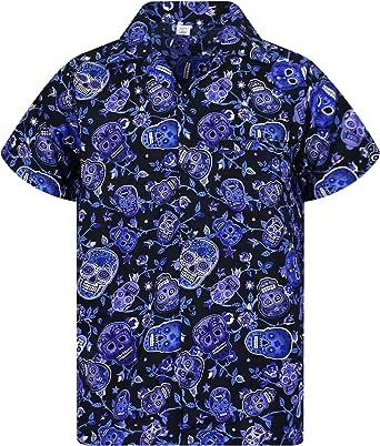 V.H.O. Camisa hawaiana Funky | Hombre | Manga Corta | Bolsillo frontal | Impresión Hawaiana | Calaveras Sugarskulls Rosas
