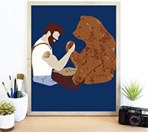 Sharp Shirter Funny Bear Poster For Guys Cool Meme Wall Art Hilarious College Decor Man Arm Wrestling Grizzly Blue Print