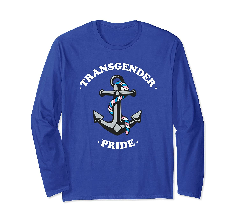 Anchor Transgender Pride Flag Colors Fashion Long Sleeve-mt