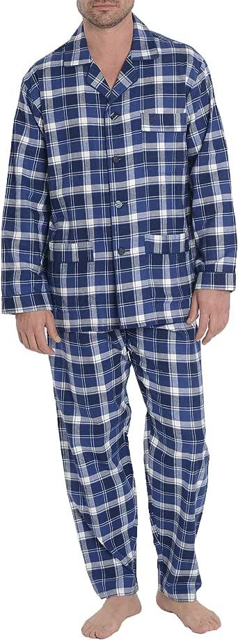 El Búho Nocturno Pijama de Caballero de Manga Larga y Chaqueta a Botones clásico a Cuadros y Franela o viyela de algodón para Invierno Especial para Hombre: Amazon.es: Ropa y accesorios