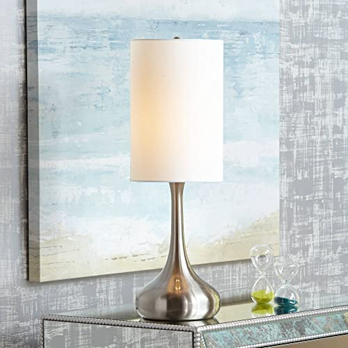 Modern Table Lamp Brushed Steel Droplet White Cylinder Shade
