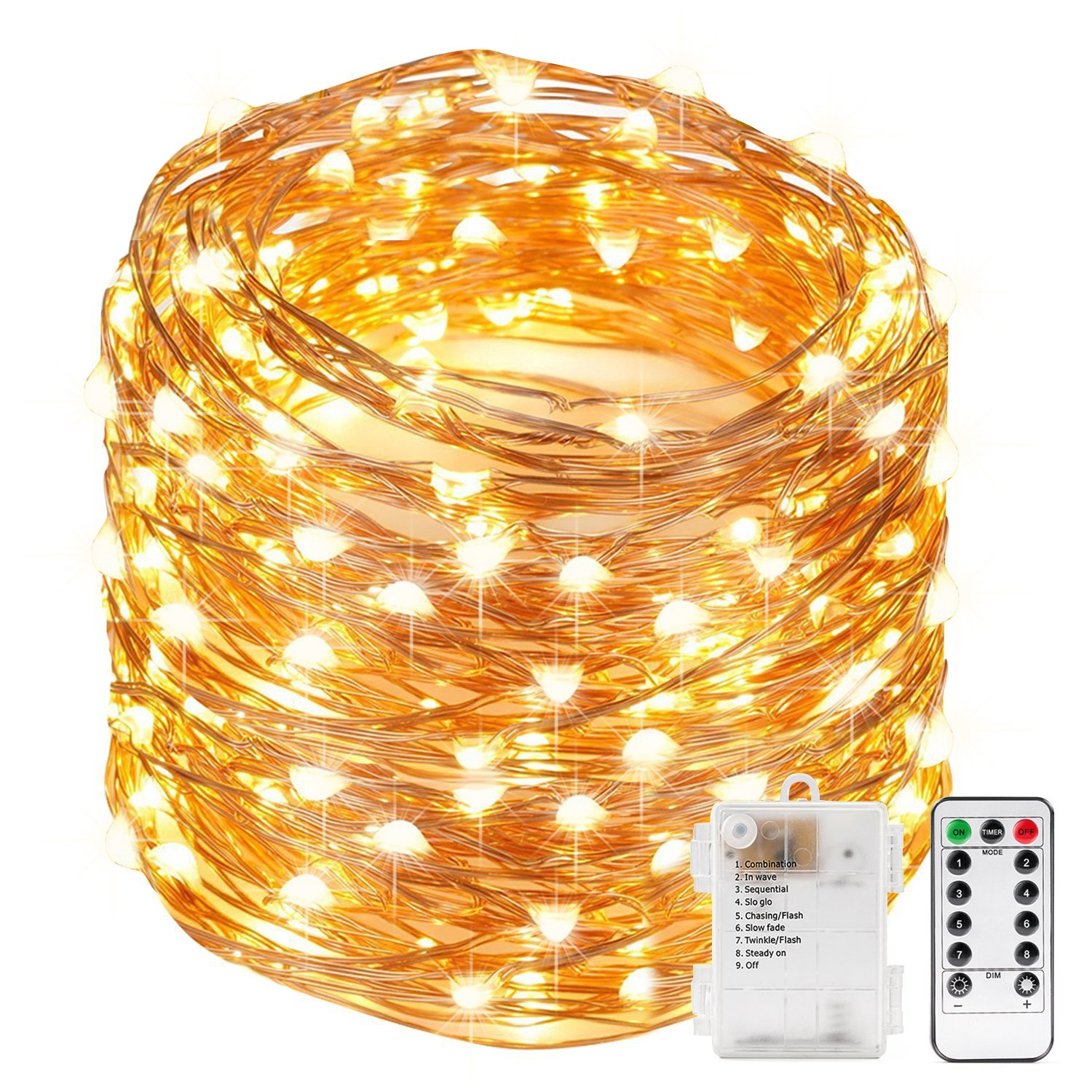 4 Packs 8 Modes AA Battery Powered Seasonal Decor Rope Lights for Holiday 33FT 100LEDs Kohree String Lights LED Copper Wire Fairy Christmas Light with Remote Control Waterproof Wedding