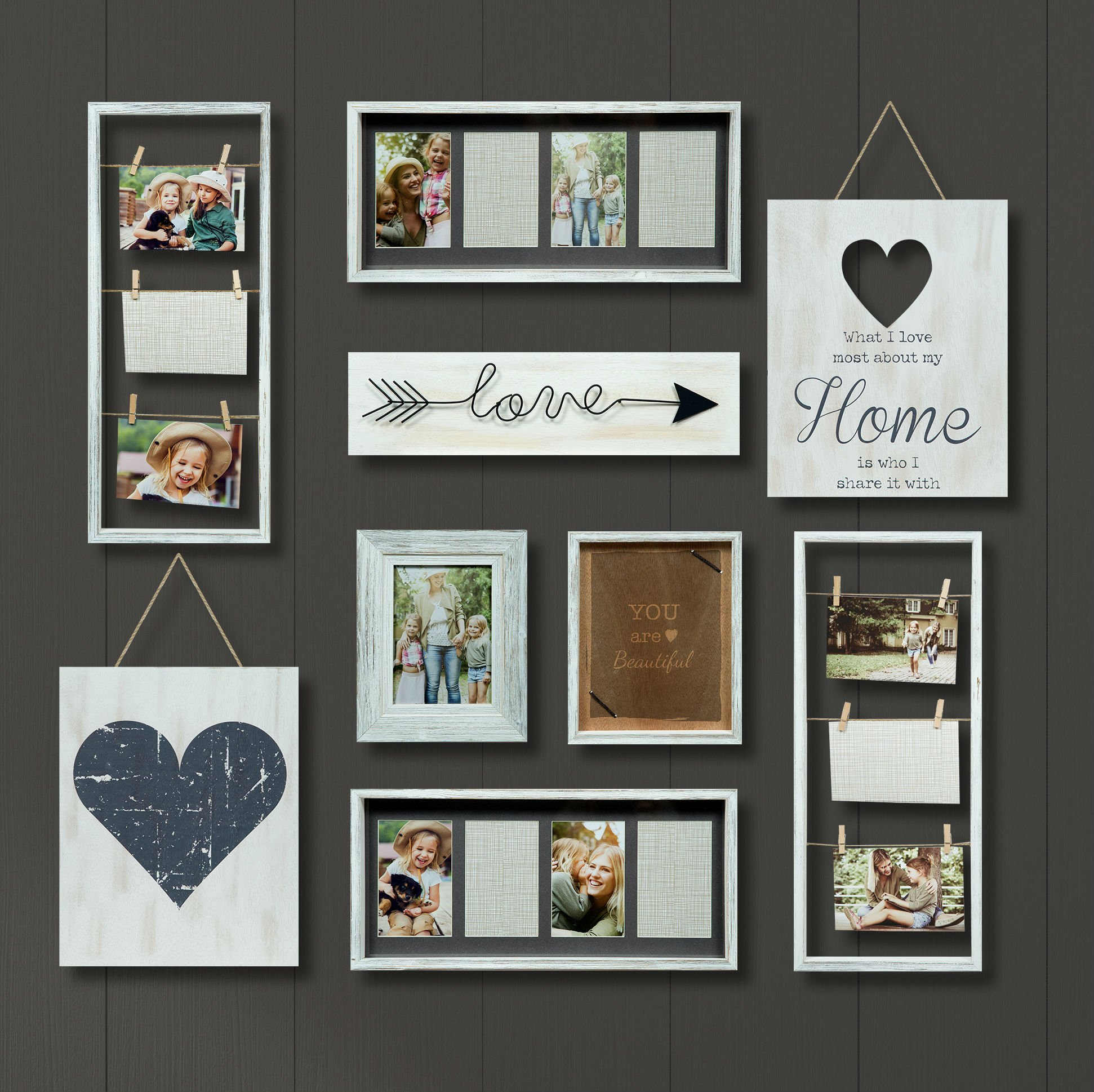 Gallery Perfect Gallery 9 Piece Rustic Whitewash Collage Frame Wall Kit, White, by Gallery Perfect