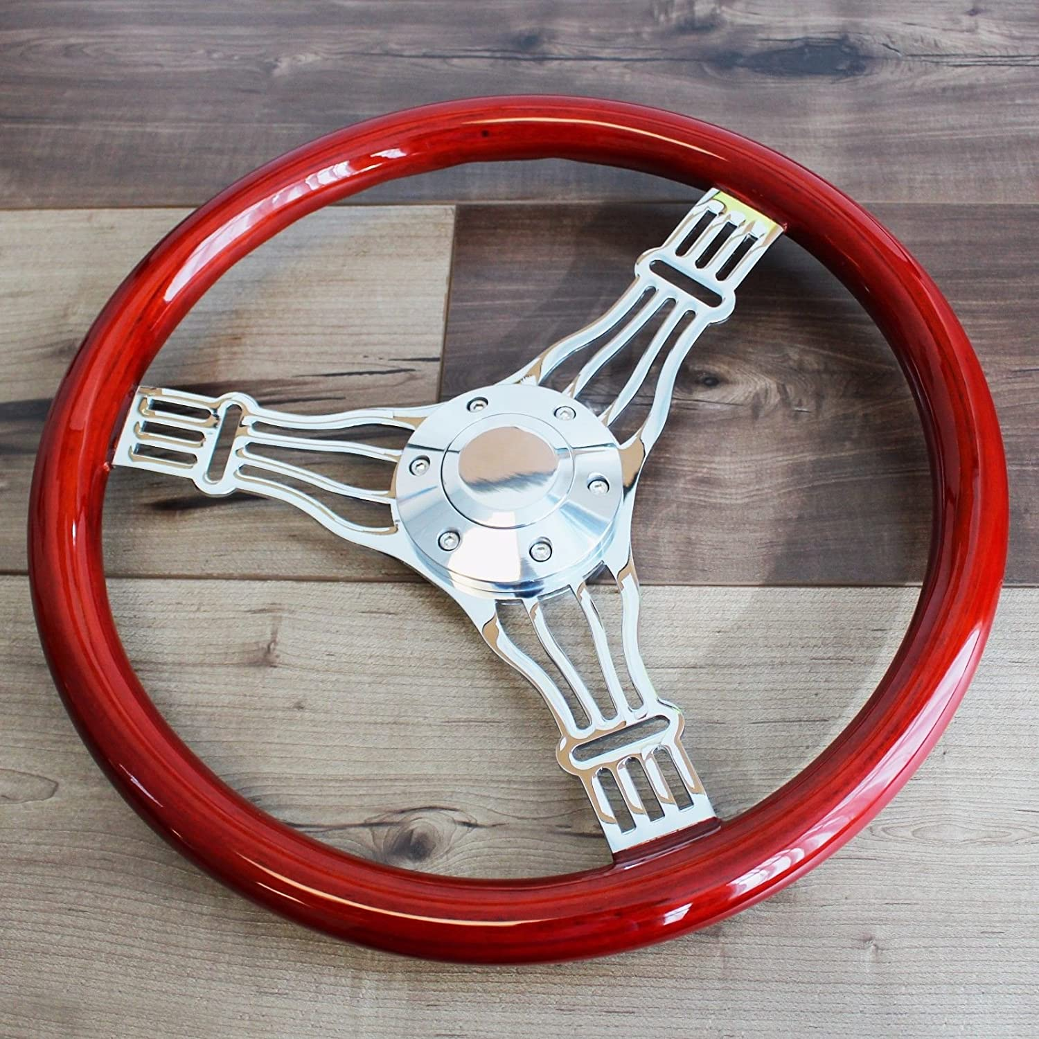 """6 Hole 380mm Chrome Steering Wheel Real Wood Wrapped in leather Grip 15/"""""""