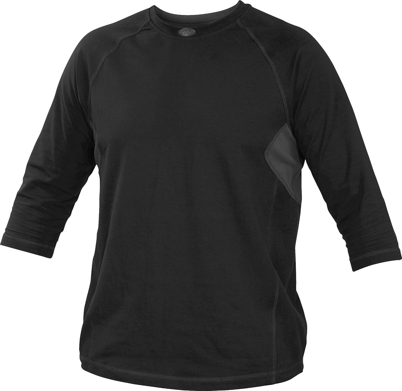 Rawlings Youth 3 / 4スリーブパフォーマンスシャツ B013I2K20O XL|ブラック ブラック XL