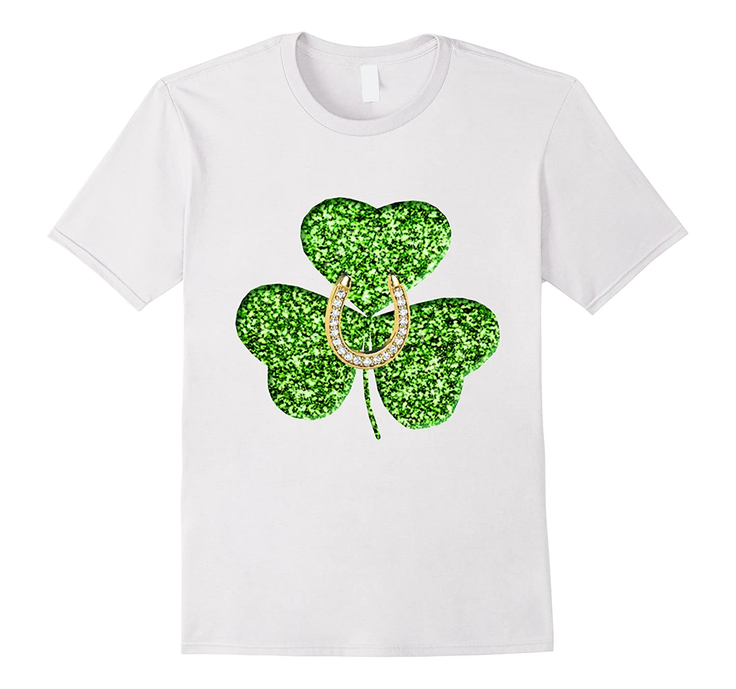 474a0d93e St Patricks Day Faux Green Glitter Shamrock Horseshoe Shirt-TD – Teedep