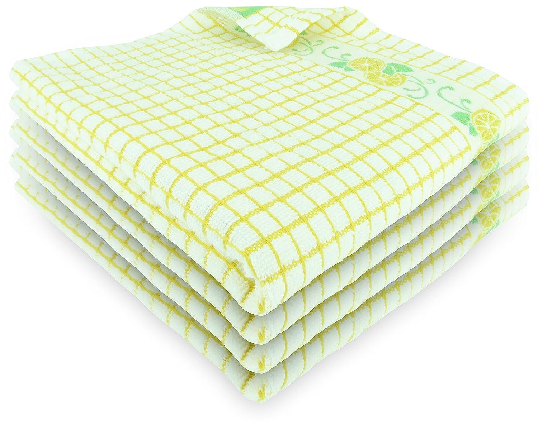Fecido Fruity Kitchen Dish Towels - Set of 4, Yellow Lemon