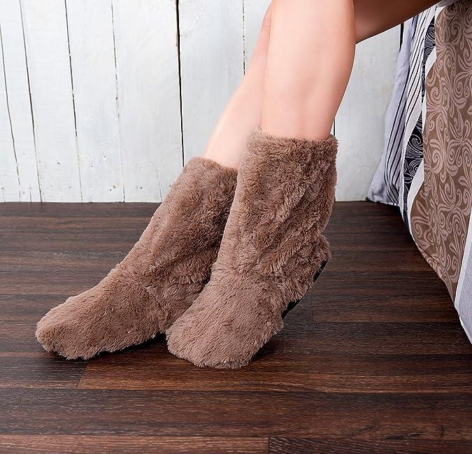 Aufw/ärmbare Flausch-Pantoffeln mit Leinsamen-F/üllung infactory Socken Schuhe Mikrowelle Gr/ö/ße 36-38