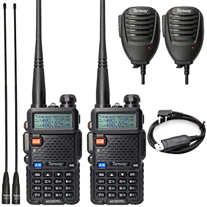 Walkie Talkie UV-5R Pro 8-Watt Dual Band Two Way Radio with Ham Radio  Handheld Speaker Mic and NA-771 Antenna 2Pack and One USB Programming Cable