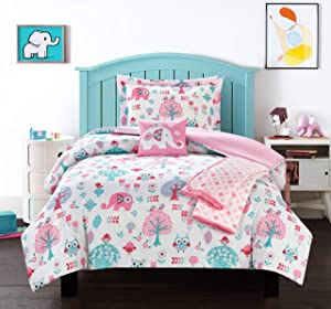 Chic Home Garden 5 Piece Comforter Set Cute Elephant Owl Friends Youth Design Bedding-Throw Blanket Decorative Pillow Shams Included, Full Pink