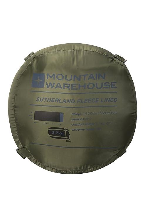 Mountain Warehouse Saco de Dormir Sutherland - Saco de Dormir con Aislamiento térmico de Fibras Huecas, Saco extracálido para Viajar, ...