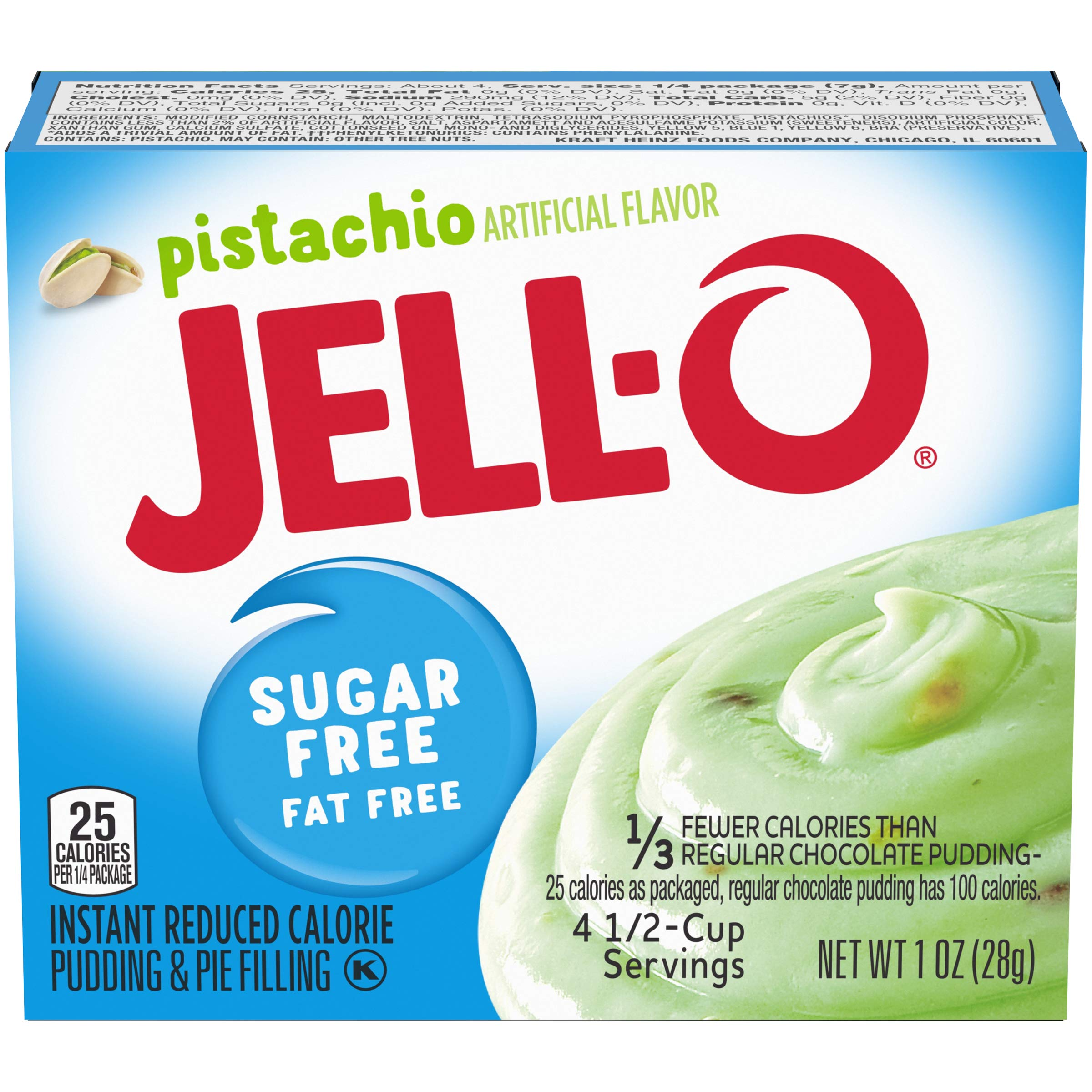 Jell-O Instant Pistachio Sugar-Free Fat Free Pudding & Pie Filling (1 oz Boxes, Pack of 6)