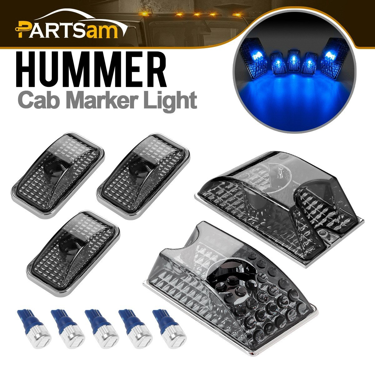 Partsam 5PCS 264160BK Smoke Cover Lens LED Cab Marker Top Roof Clearance Running Lights Crystal Chrome + 5PCS 194 168 W5W Blue T10 LED Bulbs Replacement for 2003-2009 Hummer H2 SUV SUT Waterproof