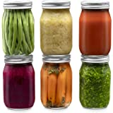 Glass Regular Mouth Mason Jars, 16 Ounce Glass Jars with Silver Metal Airtight Lids for Meal Prep, Food Storage, Canning, Drinking, Overnight Oats, Jelly, Dry Food, Spices, Salads, Yogurt (6 Pack)