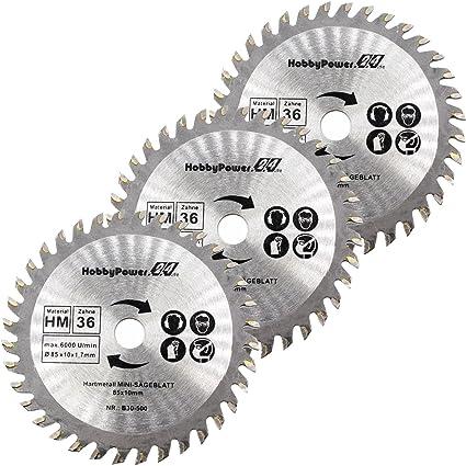 Mini sierra circular de mano 3 Juego de sierra HM de madera Diámetro 85 x 10