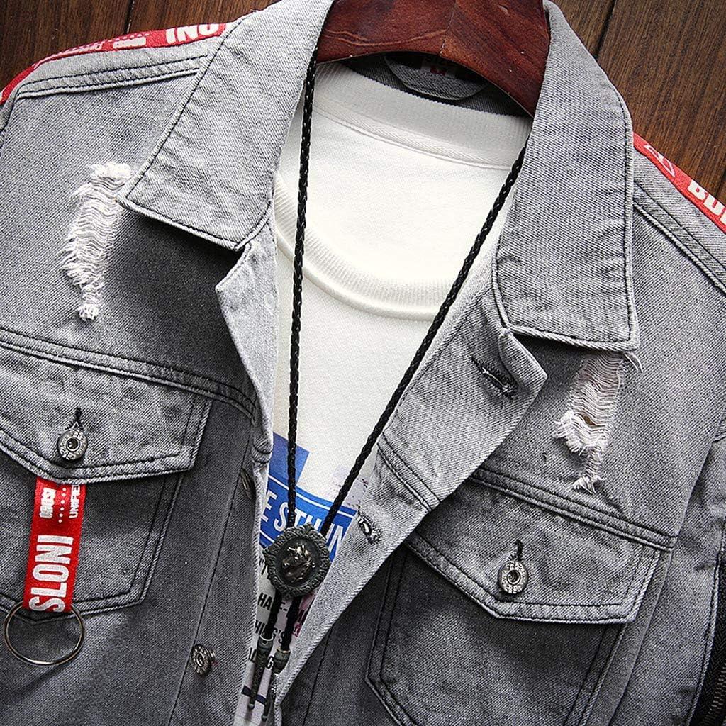Geilisungren Herren Jeansjacke Kn/öpfe Jeans Jacket Sweatshirt Sweatjacke M/änner Vintage Washed Destroyed Patchwork Denim Jacke Kapuzenjacke Herbst Mode Bomberjacke Mantel Outwear