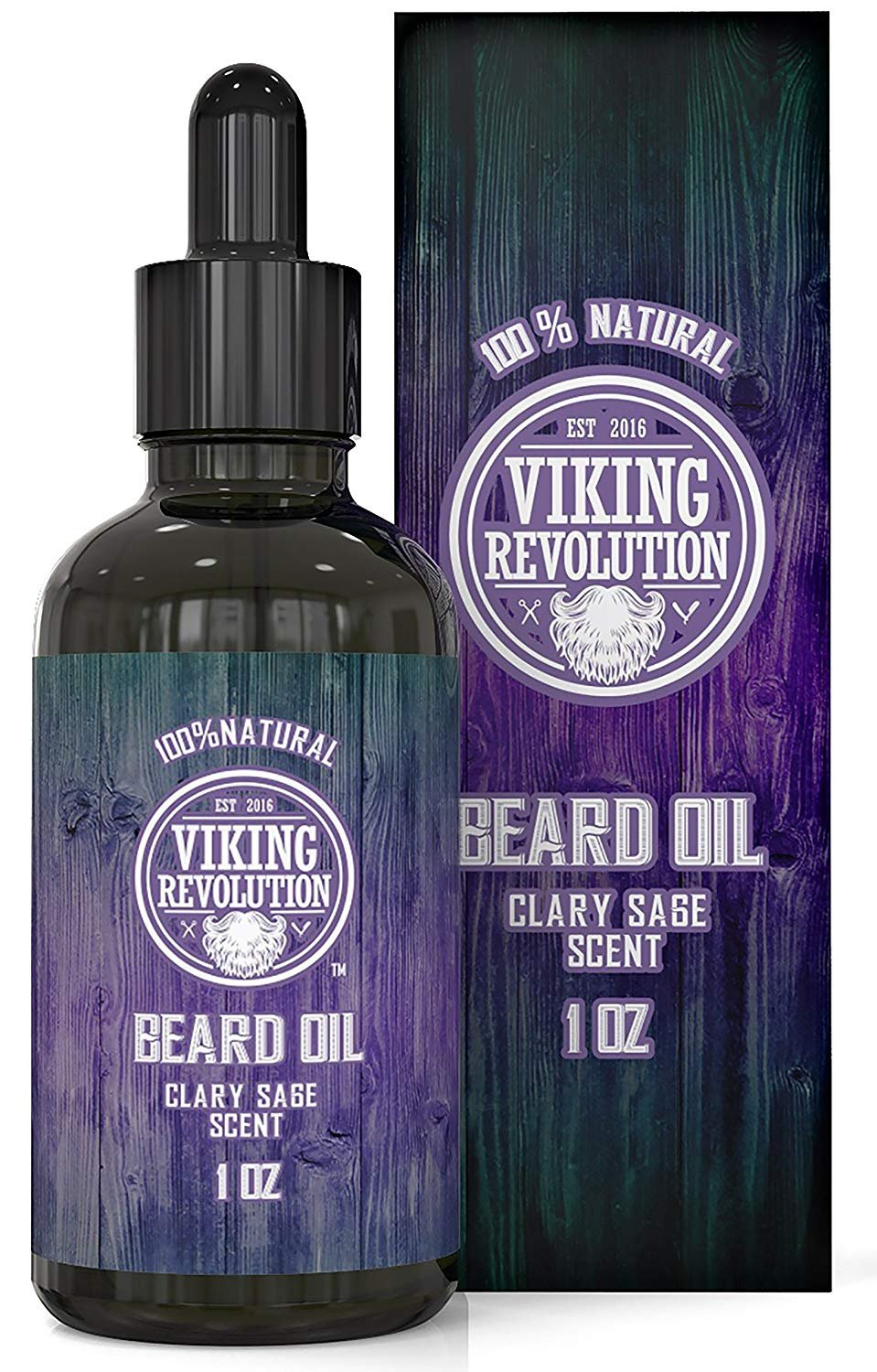BEST DEAL Beard Oil Conditioner - All Natural Clary Sage Scent with Organic Argan & Jojoba Oils - Promotes Beard Growth - Softens & Strengthens Beards and Mustaches for Men … Viking Revolution