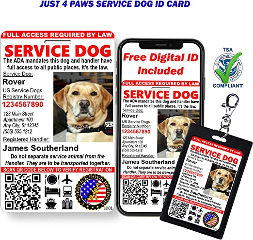 Amazon Com Just 4 Paws Custom Holographic Qr Code Service Dog Id Card With Registration To U S Service Dogs Registry Plus Id Holder Electronic Digital Id Portrait Style Pet Supplies