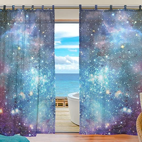 ZOEO 2 Piece Galaxy Space Nebula Star Universe MeteorFabric Sheer Voile Window Door Curtains Drape Panels Treatment