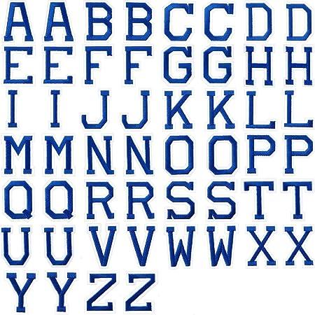 Camisas Jeans Azul Parches Apliques de Alfabeto o Apliques de Coser con Bordado Parche Decorativo de Reparaci/ón de Insignia A-Z para Garros Zapatos Bolsos 52 Parches de Letras de Plancha