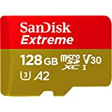 Sandisk Extreme 128GB microSD UHS-I Card with Adapter - 160MB/s U3 A2 - SDSQXA1-128G-GN6MA, Black