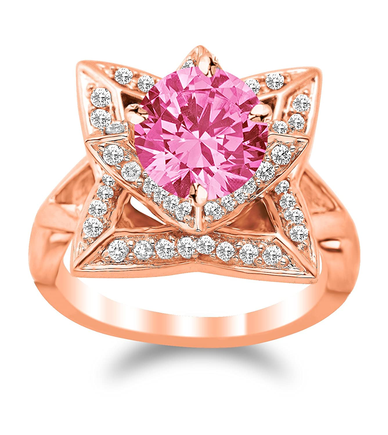 Lotus Flower Diamond Engagement Ring with a 1 Carat Pink Sapphire ...