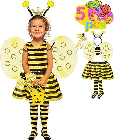 Honey Bee Fancy Dress Costume wings headpiece Stockings womens
