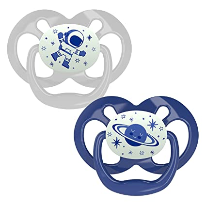 Dr. Brown's Advantage Baby Pacifiers, Glow-in-The-Dark, 6-18 Month Pacifiers, Blue, 2 Count
