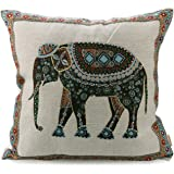 """Luxbon Tapestry Jacquard Retro Indian Elephant Cotton Linen Throw Pillow Case Home Decor Sofa Couch Chair Cushion Cover Animal Decorative 18""""X18""""/45x45cm"""