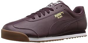 PUMA Men's Roma Basic Fashion Sneaker, Winetasting/Puma White, 9.5 M US