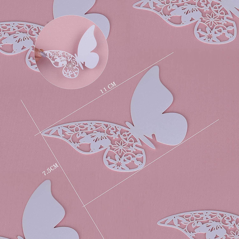 Decoraci/ón Navidad Fiestas Cumplea/ños CoKu Tarjetas de Nombre de Mariposa de Corte por L/áser de 100 Piezas//Tarjetas de Lugar para Bodas Rosa etc Tarjetas para Comensales