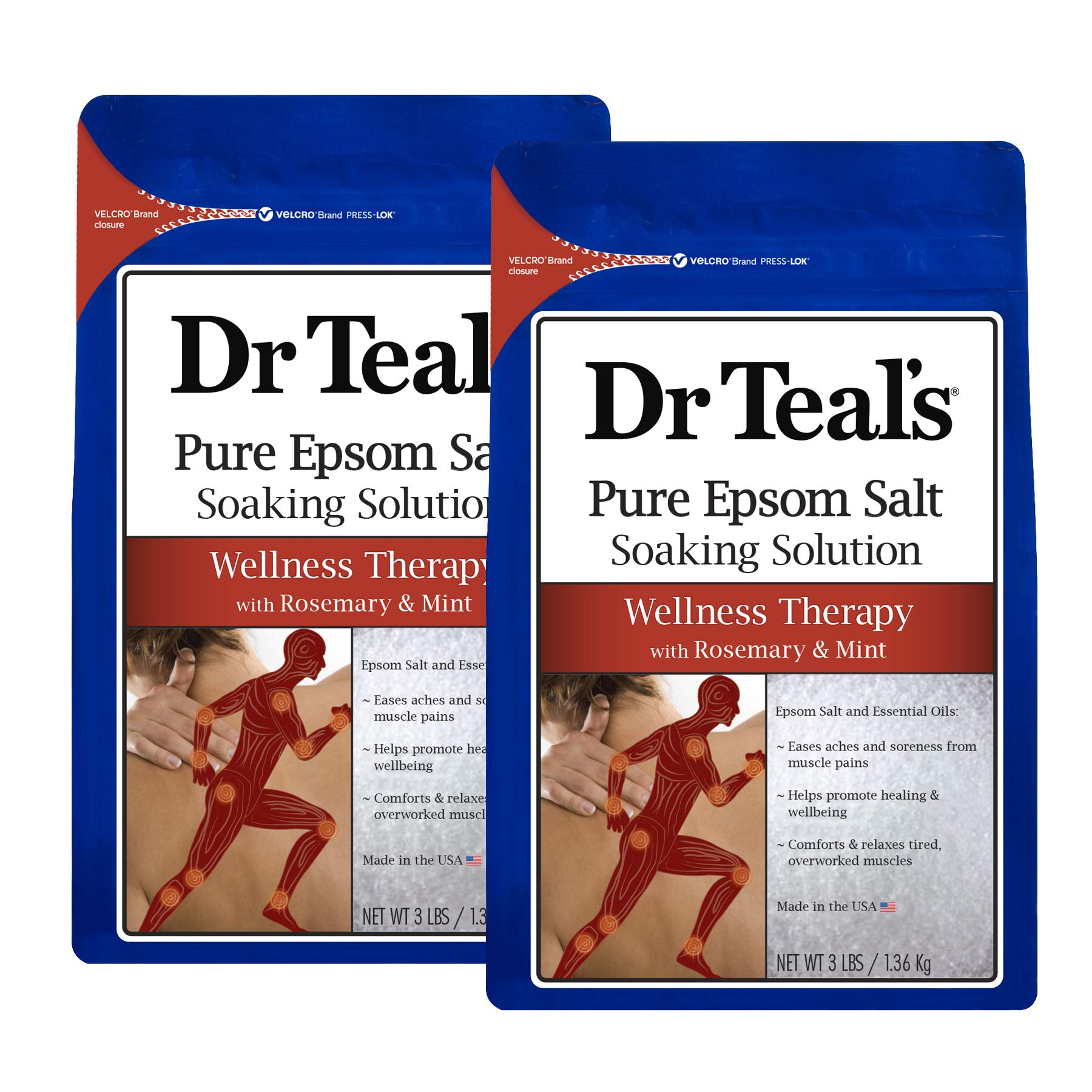 Dr. Teal's Epsom Salt Soaking Solution, Therapy & Relief with Rosemary and Mint, 48 Ounce, Pack of 2 by Dr. Teal's
