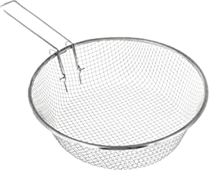 Metal Deep Fry Basket Strainer - 9 Inch - Stainless Steel Fries Cooking Strainers - Fryer Baskets With Handle
