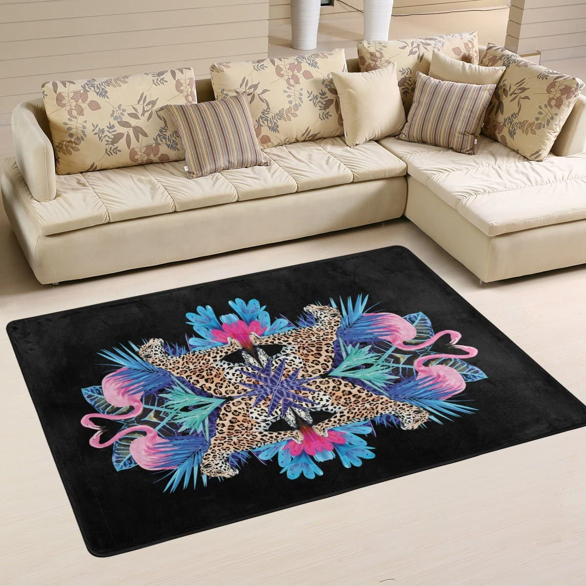 Exotic Bird Pink Flamingos, Leopards and Nature Tropical Plant Leaf Area Rug Pad Non-Slip Kitchen Floor Mat for Living Room Bedroom 5 x 7 Doormats Home Decor
