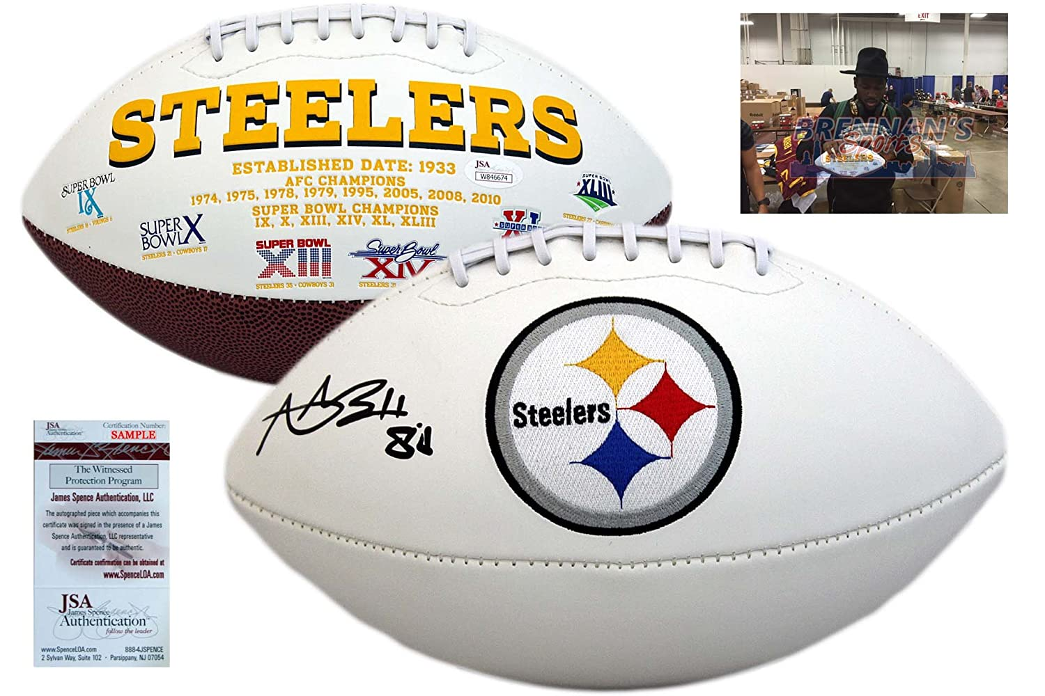 Antonio Brown Autographed Signed Pittsburgh Steelers Football - JSA Witnessed
