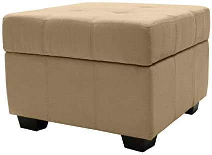 Fabulous Microfiber Suede Upholstered Tufted Padded Hinged Square Storage Ottoman Bench 24 Khaki Alphanode Cool Chair Designs And Ideas Alphanodeonline