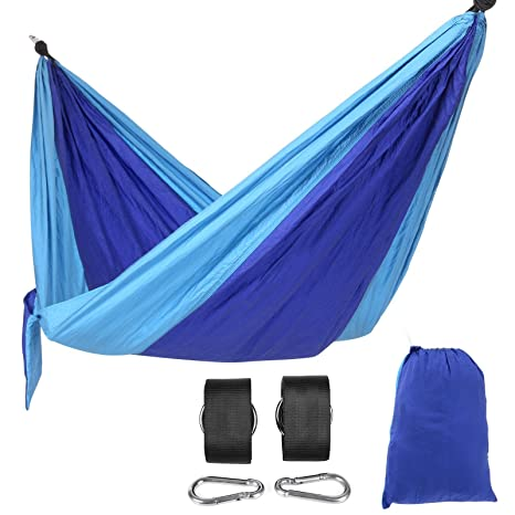 Amazon.com: SONGMICS Portable Camping Hammock Lightweight Nylon Fabric  Hiking Hammock For Backpacking With Hammock Straps And Carabiners UGDC35L:  Sports U0026 ...