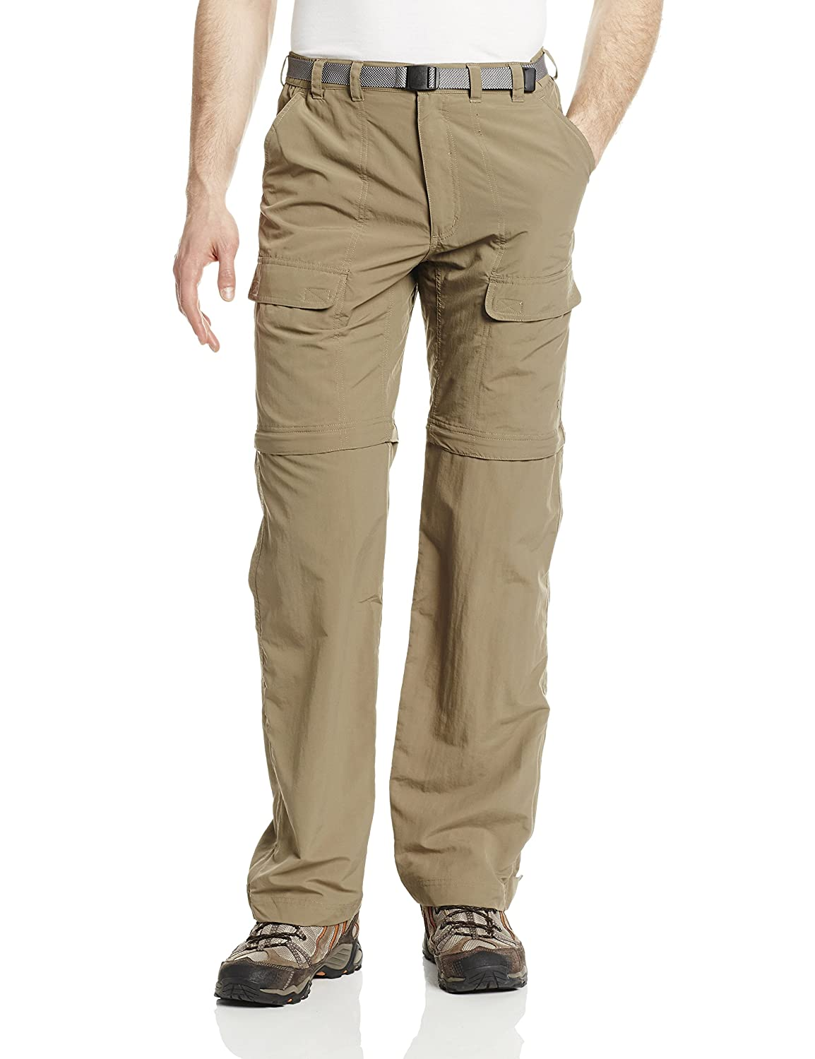 Medium Bark White Sierra Mens Trail 34-Inch Inseam Convertible Pant