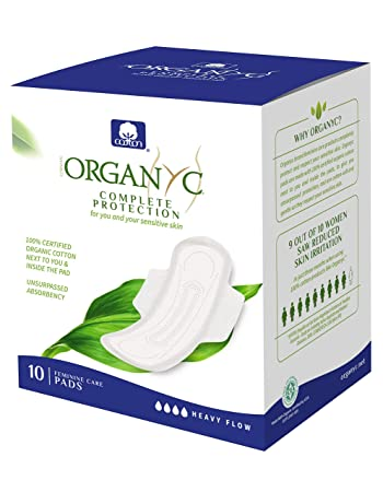 Organyc 100% Certified Organic Cotton Feminine Pads, Heavy Flow, 10 Count