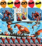 The Incredibles 2 Party Supplies Birthday Complete Party Supplies Pack - Variety Assortment Bundle of Plates, Cups, Napkins, Balloons, Invitations, Table Cover and Birthday Tattoo