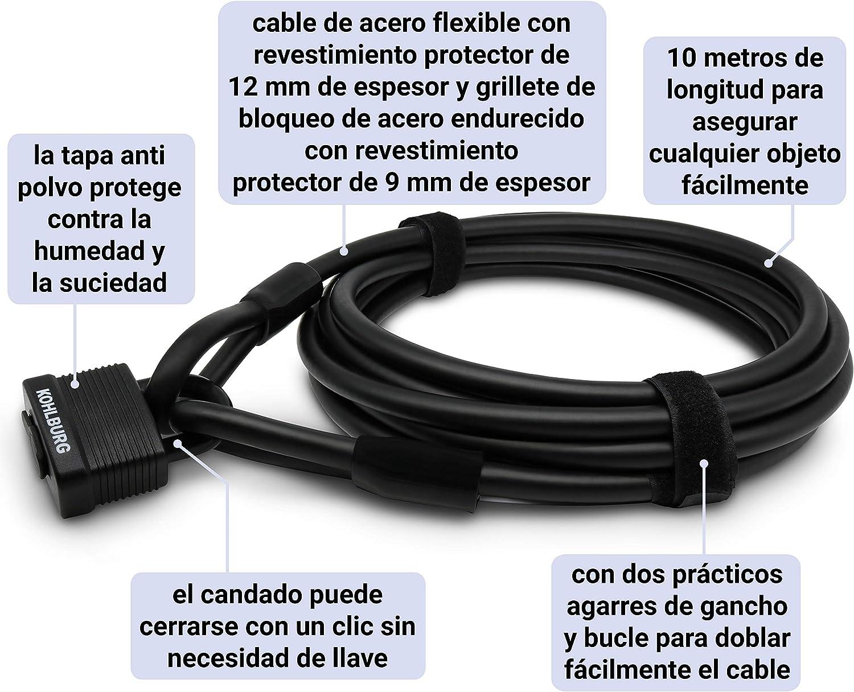Candado f/ácilmente bloqueable sin llave 1000 cm para muebles de jard/ín y como seguro de bicicleta KOHLBURG candado de cable de 10 metros de largo Cable de acero de 10 m
