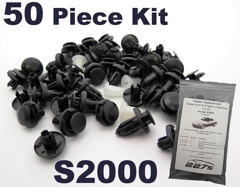 50 Pi/èces Complete Passage de roue et car/énage // undertray Clips Honda S2000 Garniture En Plastique Assortiment Clip Kit de Montage