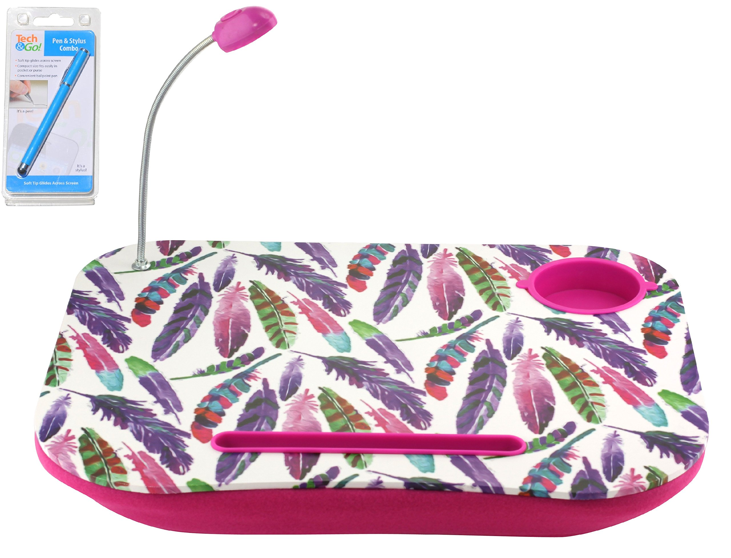 Feather Portable Laptop Tablet Notebook Computer Lap Desk with Cup Holder Light Cushion Pillow Best Unique Gift for Girls Boys Teens Kids Adults with Stylus
