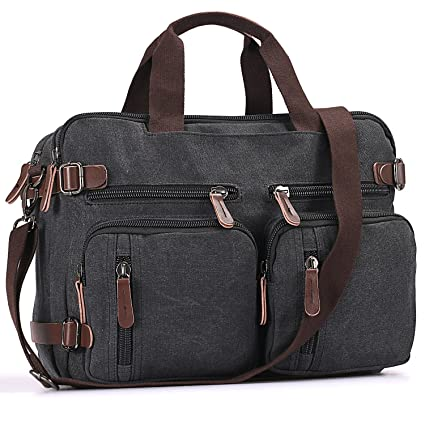 b00a749722eb Laptop Bags Leather Backpack Fresion Convertible Canvas Messenger Shoulder  Bag Men Women Travel Hiking Satchel Bags Handbags (Black