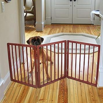Amazon Com Freestanding Folding Wood Pet Animal Safety Gate Fence